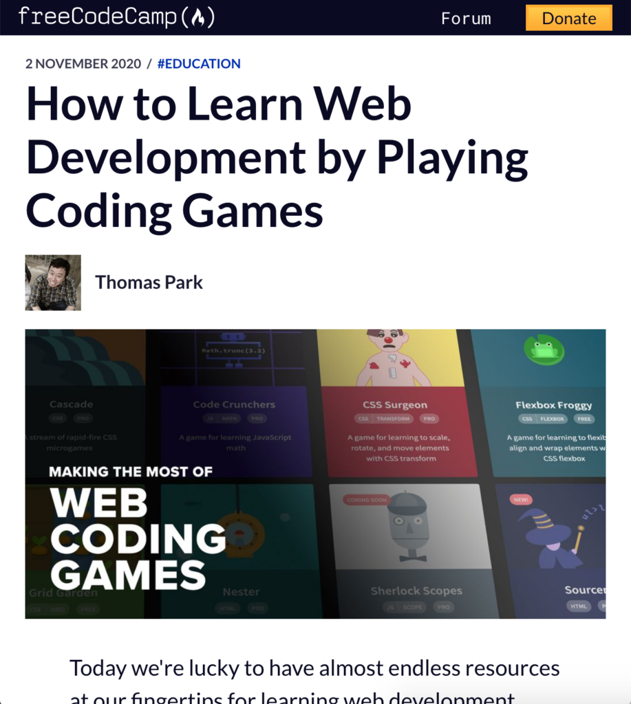 freeCodeCamp Article